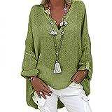 Xmiral Magliette Donna T-Shirt Camicette Scollo a V Pullover Maglie Manica Lunga Tops Traspirante Allentato Shirt Casual Camicia Manica Bluse ( 4XL,1verde )