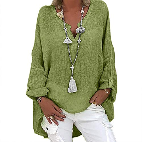 WYBD 2021 Cadeau Tee Shirt Manche Longue Femme, Vetements T Shirt Personnalisé Imprimé Col V Multicolore Pullover Ample Chemise Lin Oversize Tunique Blouse Fleurs Grande Taille Haut Chic Tendance Top