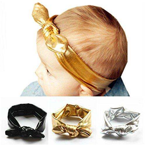 AKOAK 3Pcs/Lot Fashion Children Metallic Messy Big Bow Baby Girls Elasticity Headband Baby Kids Cloth Turban Knot Hairband Wrap
