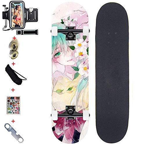 fgg Deck 31 '' Retro Freestyle Skateboard Completo monopatín Vintage con Tablero de plástico con -7 cojinete de Rueda de PU para Adultos niños niños, con Brazalete fengong