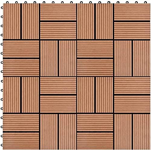 GCSQF Baldosas de Madera Terraza Baldosas Sistema de Enclavamiento de baldosas para terrazas, 22 Piezas, para Patios, Balcones, baños o Piscinas o Zonas de SPA 30x30 cm 2m2 GCSQF210716(Color:Brown)