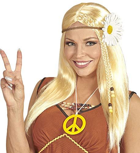 Jaren 70 hippie meisje pruik voor dames - kostuum accessoires bloem power party festival carnaval