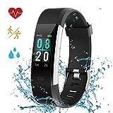 Montre Bracelet Connecté Femme Étanche IP68 Natation Cardiofréquencemètre Podomètre Smart Watch USB Suivi Sommeil GPS Sport Course Enfant Fille Homme pour iOS/Android (Pur Noir)