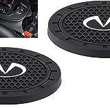 fit Infiniti Accessories Coaster Car Interior for Infiniti Cup Holder Insert Coaster - Silicone Anti Slip Cup Mat for Infiniti QX50 Q50 Q70 Q70L Q60 QX30 QX60 QX80 (Set of 2, 2.75' Diameter)