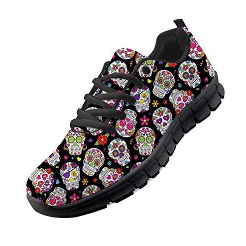 Chaqlin Zapatillas de Deporte Ligeras para Mujer Zapatillas de Deporte de Moda con múltiples Calaveras Zapatillas Deportivas de Malla EU39