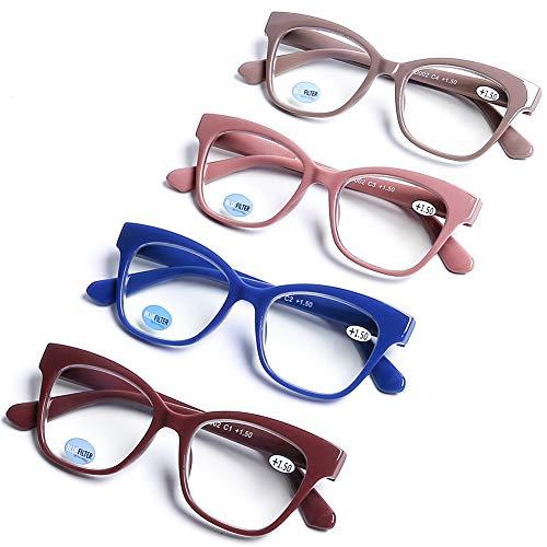 DOOViC - Juego de 4 anteojos de lectura con bloqueo de luz azul para lectores de computadora, antifatiga ocular, estilo clásico, con bisagra de resorte para mujer, Multi color, 2.5 x