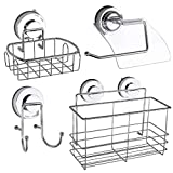 COLFULINE Strong Suction Cup Hooks & Shower Caddy Bath Organizer Storage Basket & Soap Dish Holder & Toilet Roll Holder Stainless Steel Shampoo, Conditioner Bathroom Accessories Rust-proof, Set of 4