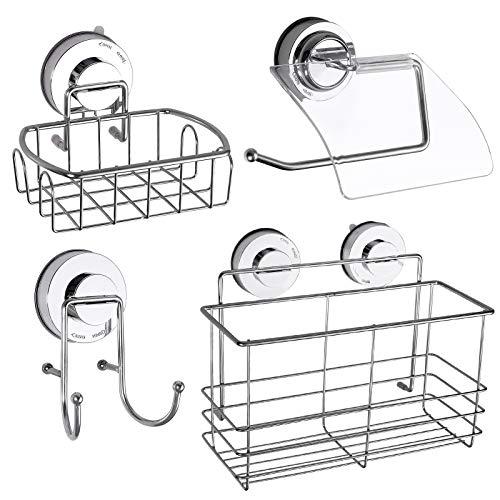 COLFULINE Kit de 4pcs Organizador de baño Organizador para Ducha Ganchos de ventosa Cesta de Almacenamiento Jabonera Soporte para Toalla de papel y Champú, Acondicionador de Baño, Inoxidables