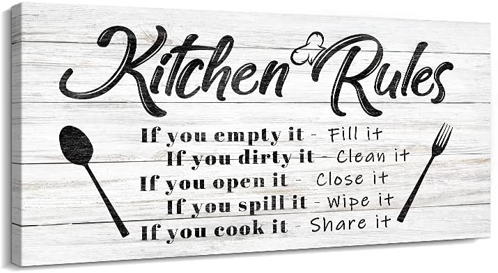 Kitchen Rules Wall Decor Funny Inspirational Quote Canvas Print Art Modern Rustic Farmhouse Kitchen Decorative (8X16 Inch, W)