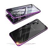 Funda para Samsung Galaxy Note 10+ Plus 5G, Jonwelsy 360 Grados Delantera y Trasera de Transparente Vidrio Templado Case Cover, Fuerte Tecnología de Adsorción Magnética Metal Bumper Cubierta (Púrpura)