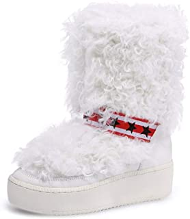JSY Mujer Zapatos Otoño Y Invierno Botas De Las Mujeres De Lana Aumentado De Suela Gruesa Deportes Botas De Nieve De Nieve...
