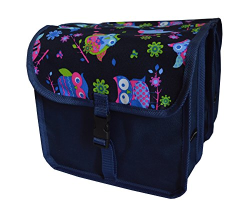Beluko FAHRRADTASCHE Kinder Satteltasche Gepäckträgetasche Doppel 2 x 5l (4. Mini - Eule dunkel)
