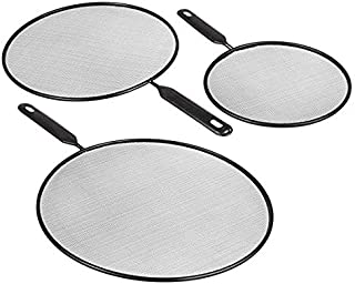 """Splatter Screen Guard for Cooking Grease Shield Cover for Frying Pan Kitchen Heavy Duty Quality 3 pc set 10"""" 11.5"""" 14"""""""