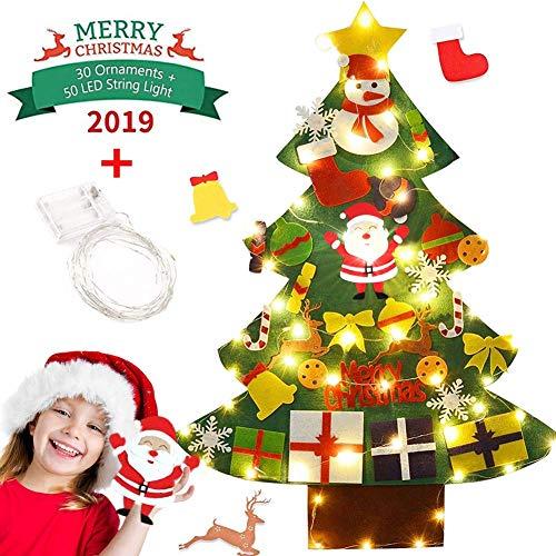 Cotek Felt Christmas Tree Set Decorazione della Parete Porta Fai da Te Decorazione di Natale con Ornamenti