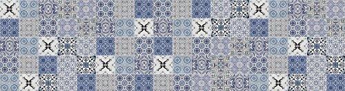 Laroom Alfombra Vinílica de Pasillo Diseño Faro, Vinilo Antiliscante, Azul, 80x300 cm