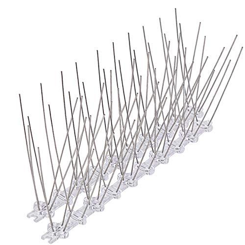 OUQIWEN 3.5M Pinchos Anti-Palomas,14 Piezas de 25 cm Pinchos para pájaros de Acero Inoxidable y policarbonato de, para Control de Aves y Cuervo para Tejados, balcón, Vallas