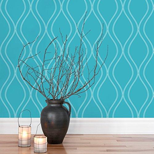 Apalis Moderne Tapete Vliestapete Wellen Retro Design türkis Fototapete Breit | Vlies Tapete Wandtapete Wandbild Foto 3D Fototapete für Schlafzimmer Wohnzimmer Küche | blau, 106151