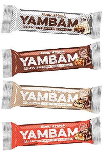 Body Attack YAMBAM, Proteinriegel mit 33{c426cdb82667e5eca92267e871a1075e28f4e3ac5307d43a12f9e2658f96dced} Eiweiß, Fitness-Riegel ohne Zuckerzusatz und ohne Aspartam (Variety Pack, 4 x 80g) Choc. Caramel, Peanut Butter Caramel, Cookie N\' Choc, Brownie White Choc