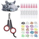 Queta Protector de garras de gato y cortaúñas, 200 fundas de uñas para gatos en 20 colores (20 cápsulas/paquete) con pegamento + cortaúñas del gato negro.