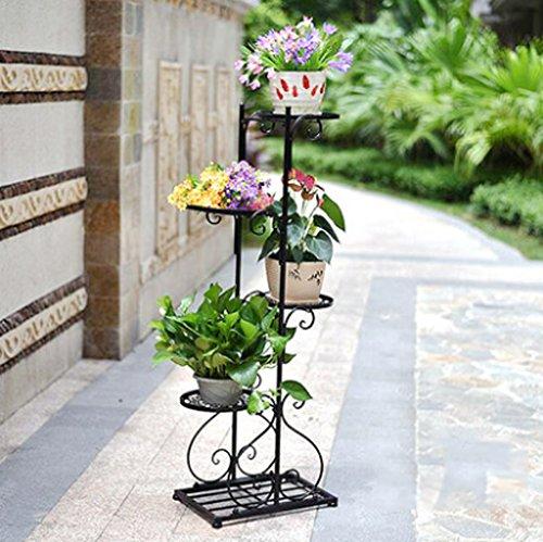 Porte-fleurs Quatre étagères à fleurs, étagère de fleur pastorale européenne, fer radis vert créatif atterrissage intérieur étagère à fleurs à plusieurs étages, balcon pot à viande Support de fleurs ( Couleur : Noir )