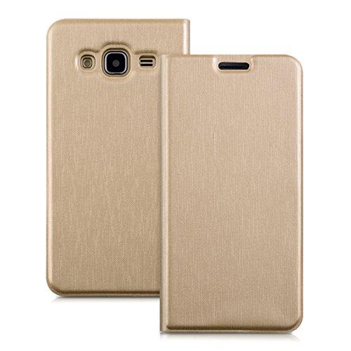 kwmobile Funda Compatible con Samsung Galaxy J3 (2016) DUOS - Carcasa con Tapa Tipo Libro para móvil - Case en Dorado