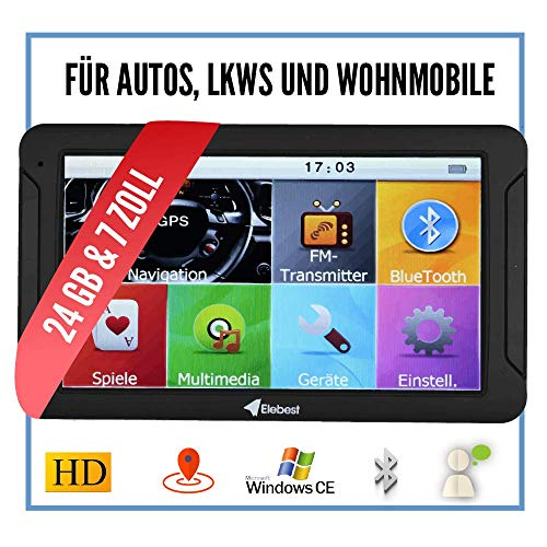 Elebest City 70K Navigationsgerät PKW, LKW, Wohmobil - Großes 7 Zoll (17,8 cm) Touchscreen HD Display - 24 GB, Fahrspurassistent, Bluetooth - Radarwarner, EU Karte, Topaktuelles 3D Kartenmaterial