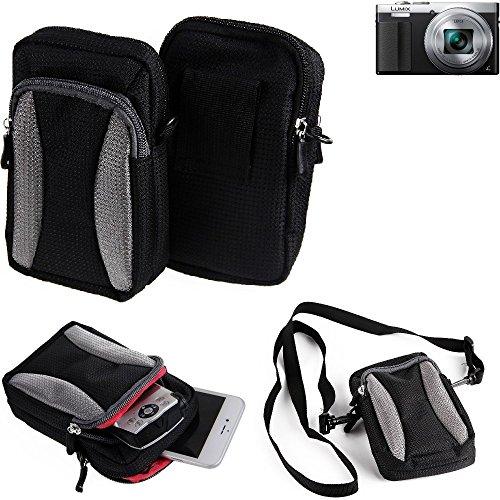 Für Panasonic Lumix DMC-TZ71 Gürtel Tasche Holster Umhänge Tasche Fototasche Schutz Hülle Für Panasonic Lumix DMC-TZ71, Schwarz-grau + Extrafach Mit Platz Für Powerbank, Festplatte Etc.   Case