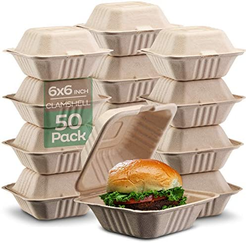 100 Compostable Clamshell Take Out Food Containers 6x6 50 Pack Heavy Duty Quality to go Containers product image
