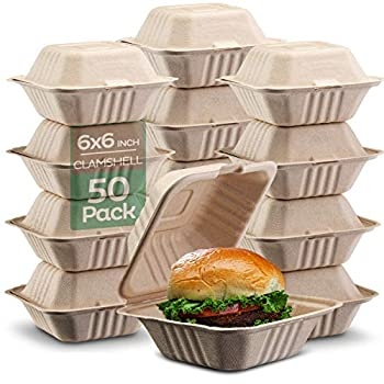 100% Compostable Clamshell Take Out Food Containers [6x6  50-Pack] Heavy-Duty Quality to go Containers Natural Disposable Bagasse Eco-Friendly Biodegradable Made of Sugar Cane Fibers