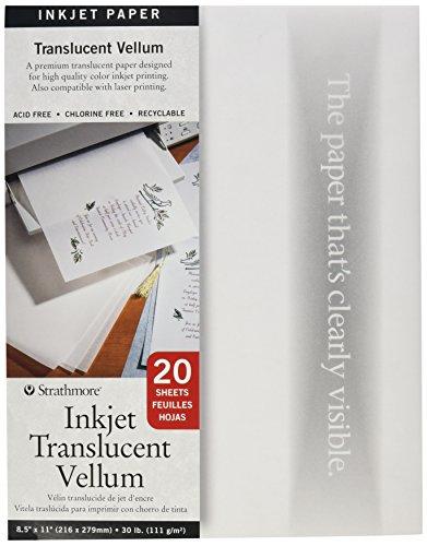 "Vellum Inkjet Paper, 8.5""x11"", 20 Sheets"