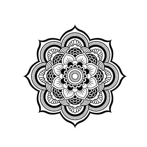Monland 50X50Cm CalcomaníA de Vinilo de la Capucha del Coche Etiqueta Engomada de la Mandala para Totem Cover Hood Etiqueta Engomada del Coche Negro