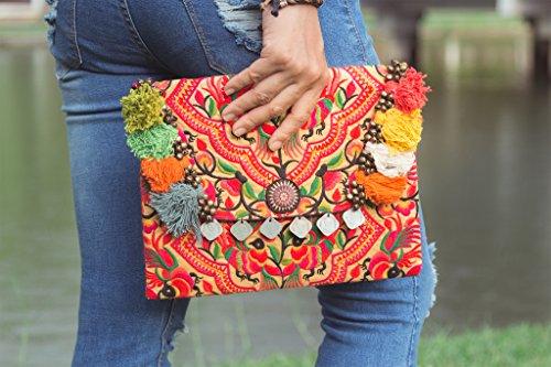 Changnoi Handmade Clutch Ipad Cover Peacock Hmong Embroidered in Yellow Fair Trade Thailand