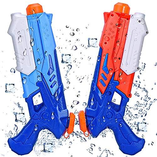 Joyjoz Pistolas de Agua Pistola 2 Pack Blaster de Agua para Verano Piscina Al Aire Libre Playa Diversión Acuática para Niños Adultos (400ML * 2)