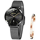OLEVS Wrist Watches for Women Fashion Waterproof Rose Gold Steel Strip Analog Quartz Wristwatch Gifts for Ladies (L5869-Black-Black Dial)