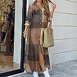 Vestido de camisa de manga larga para mujer Otoño Impreso Vestidos largos Cuello de rechazo suelto Sundress Vestidos de fiesta (Color : Khaki plaid, Size : M)