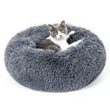 rabbitgoo cat bed for indoor cats, soft plush donut cuddler cushion pet bed, fluffy round bed for