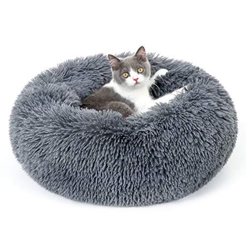 rabbitgoo Cama Gato Perro Antiestres, Cama para Gatos Relajante Cama de Gato con Felpa Suave, Cama Mascota para Dormir Mejor, Antideslizante, Lavable a Máquina (50 X 50CM, Gris Oscuro)
