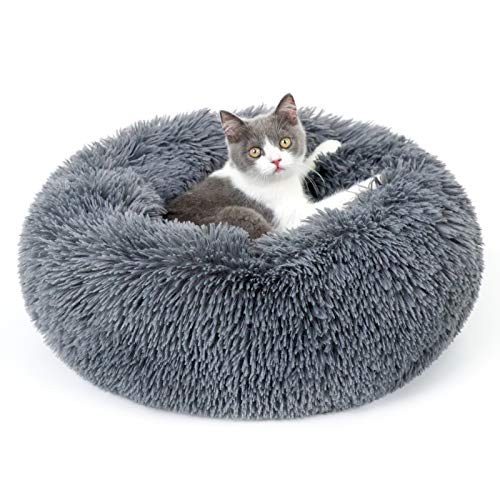 rabbitgoo Cat Bed for Indoor Cats, Fluffy Round Cat Bed for Small Dogs Kittens, Self Warming Calming...