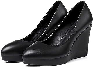 [トブイシューズ] 9.5cmウエッジソール ポインテッドトゥ パンプス レディース 痛くない 白 大きいサイズ 脱げない ポインテッド ウェッジソール 靴 歩きやすい ミドルヒール 秋冬 ウエッジヒール