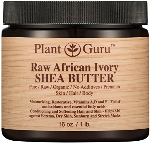 Raw African Shea Butter 16 oz Jar Unrefined 100% Pure Natural Ivory / White Grade A DIY Body Butters, Lotion, Cream, lip Balm & Soap Making Supplies, Eczema & Psoriasis Aid, Stretch Mark Product