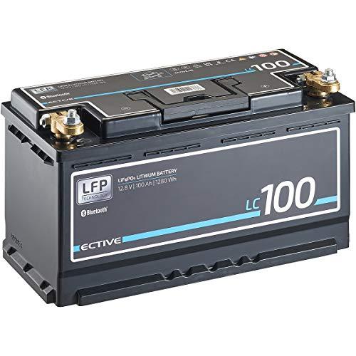 ECTIVE LC100 BT 12V 100Ah 1280Wh LiFePO4-Batterie mit Bluetooth-Funktion Lithium-Eisenphosphat Versorgungs-Batterie inklusive App