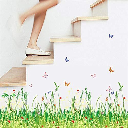 Deanyi Wand-Aufkleber Grünes Gras Wiese Muster Treppen Wandaufkleber Wandaufkleber DIY Wandtattoo Tapeten Bunte entfernbare Tapeten für Wohnzimmer-Bett-Zimmer