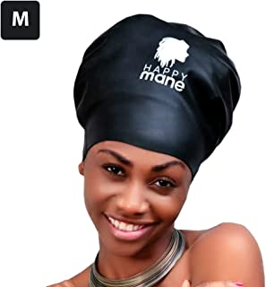 Happy Mane Silicone Swim Cap for Braids and Dreadlocks - Keeps Your Hair Dry While Swimming and Bathing Long Hair, Extensions, and Curly Hair - Large & XL Shower Cap for Women, kids, Black, M:Teenager