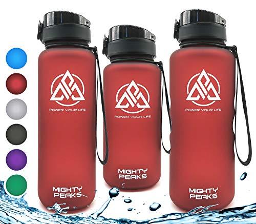 MIGHTY PEAKS Tritan Sport-Trinkflasche 1 5 l | BPA frei | 1500ml 1 5 Liter 1.5 Liter | Wasserflasche 1,5 Liter | Rot, Red | Ideale Sportflasche für Fahrrad, Fitness, Fussball, Kinder, Sport