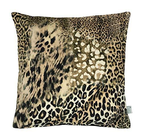 Stoffeldorado - Kissenbezug mit Reißverschluss - Leoparden Design Möbelsamt - Rückseite Stepp Samt schwarz (50 x 50 cm)