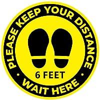 Social Distancing Floor 装飾ステッカー - 20枚パック 12インチ 防水 安全距離デカール 破れにくい ビニール 群衆制御サイン 黄色フロアマーカー 学校 スーパーマーケット 店舗 ビジネス用