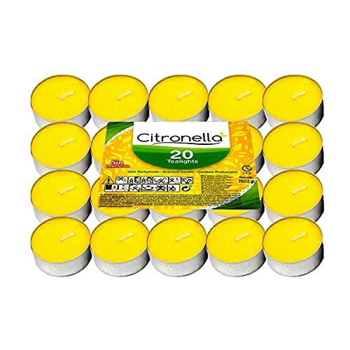 Vela de Te Citronela Antimosquito velas perfumada, duracion 4.5 H Tealight Uso Interior y Exterior (20 Velas)
