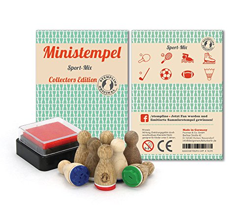 Stemplino Stempelset Sport - 8 Ministempel aus Holz Plus Stempelkissen, Mini Stempel Set Mix