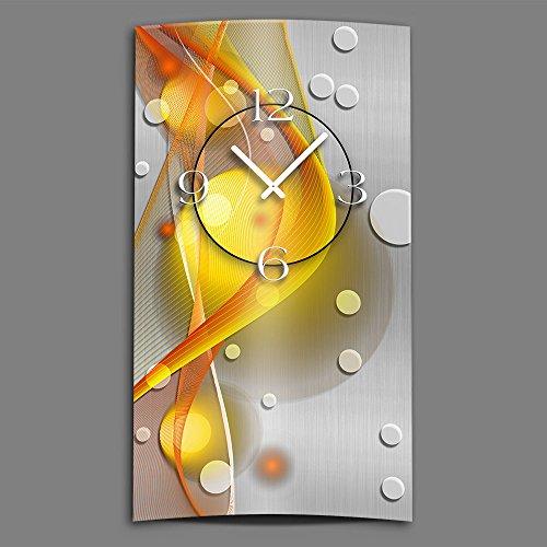 DIXTIME Abstrakt gelb orange hochkant Designer Wanduhr modernes Wanduhren Design leise kein Ticken 3D-0049