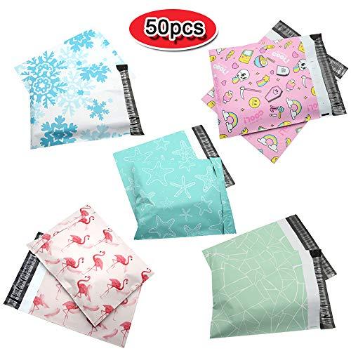Versandtasche, Paketbeutel, 25 x 33 cm, 5 Muster zur Auswahl, Flamingo, Seestern, Halloween, Versandtaschen für Kleidung, dicke Versandtaschen mit selbstklebendem Streifen. Farbe 1